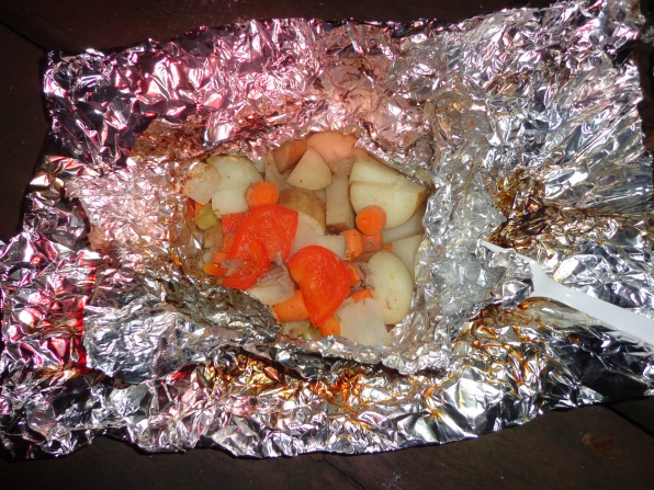 I might be delusional since all I ate yesterday prior to this was fruit and a Sonic burrito, but this is the greatest thing I have ever tasted. Notice that I wrapped mine in more than one piece of foil to prevent the juice from leaking out.