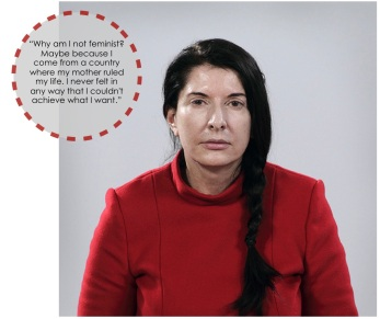 "November 13. I'm glad to be a woman with a modern, career-oriented lifestyle. The pictured quote from Marina Abramovic pretty much sums up how I feel. I think the word ""feminist"" has come to have a negative connotation. Can't I just be a strong and independent human being? What should my successes and failures have to do with being a woman?"