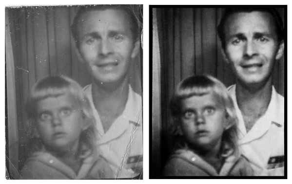 My mom and grandfather in a photobooth on the boardwalk in Ocean City, Maryland.