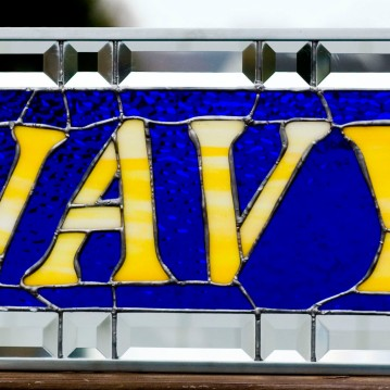 navy stained glass